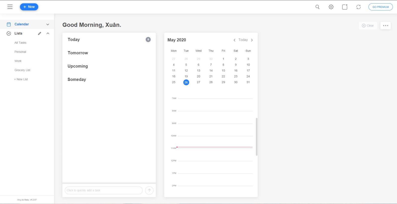giao diện chính của công cụ quản lý công việc